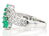 Colombian Emerald Rhodium Over Silver Ring  1.59ctw