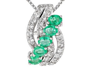 Colombian Emerald Rhodium Over Silver Slide With Chain 1.33ctw