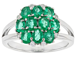 Green Colombian Emerald Rhodium Over Silver Ring