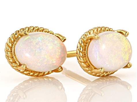 Australian Opal 18K Gold Over Silver Stud Earrings .68ctw