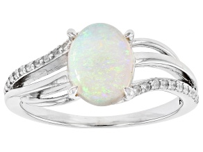 Australian Opal Rhodium Over Silver Ring. .95ctw