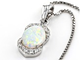 Australian Opal Rhodium Over Silver Pendent With Chain .96ctw