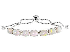 Multi Color Australian Opal Rhodium Over Silver Bolo Bracelet 2.38ctw
