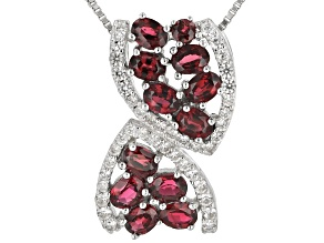 Red Spinel Rhodium Over Silver Slide With Chain