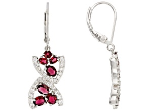 Red Spinel Rhodium Over Silver Earrings 2.14ctw
