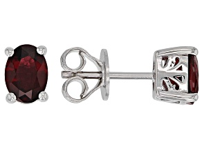 Red Burmese Spinel Rhodium Over Sterling Silver Stud Earrings