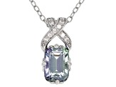 Teal Tanzanite Rhodium Over Silver Pendant With Chain 1.02ctw