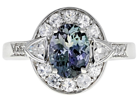 Ocean Tanzanite And White Zircon Rhodium Over Sterling Silver Ring