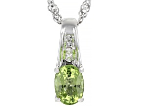 Peridot With Diamond Accent Rhodium Over Silver Pendant With Chain. 0.86ctw