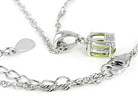 Green Peridot Rhodium Over Silver Pendant With Chain .81ct