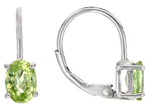 Green Peridot Rhodium Over Silver Earrings 1.73ctw