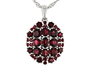 Red Spinel Rhodium Over Sterling Silver Pendant With Chain. 3.24ctw