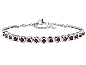 Red Spinel Rhodium Over Sterling Silver Hinged Bracelet. 1.88ctw
