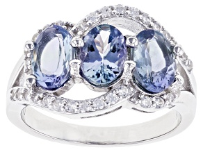 Ocean Tanzanite And White Zircon Rhodium Over Silver Ring. 2.42ctw