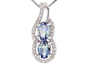 Ocean Tanzanite And White Zircon Rhodium Over Silver Pendant W/ Chain
