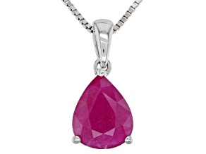 Kenya Ruby Rhodium Over Silver Pendant With Chain. 1.79ct