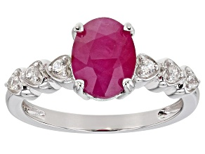 Kenya Ruby And White Zircon Rhodium Over Sterling Silver Ring. 2.24ctw
