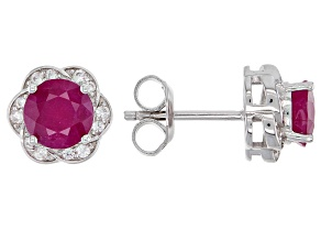 Kenya Ruby and White Zircon Rhodium Over Silver Stud Earrings. 2.09ctw