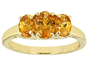 Orange Mandarin Garnet 18K Yellow Gold Over Silver Ring. 1.76CTW