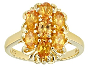 Orange Mandarin Garnet 18K Yellow Gold Over Silver Ring. 1.73CTW