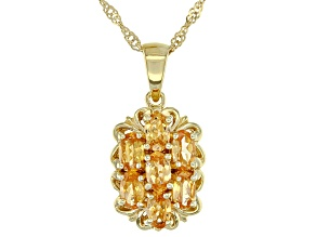 Orange Mandarin Garnet 18K Yellow Gold Over Silver Pendant With Chain. 1.73CTW