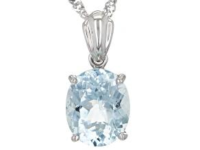 """Cabo Delgado Blue Apatite Rhodium Over Silver Pendant With 18"""" Chain 3.54ctw"""