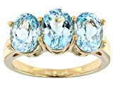 Cabo Delgado Blue Apatite 18k Gold Over Silver Ring 2.83ctw