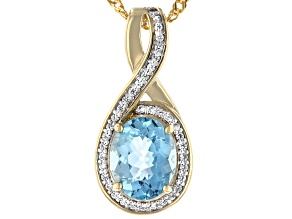 Cabo Delgado Blue Apatite & Zircon 18k Gold Over Silver Pendant With Chain 2.93ctw