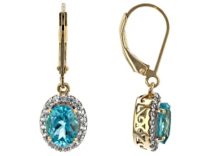 Cabo Delgado Blue Apatite, White Zircon 18k Gold Over Silver Earrings 2.86ctw
