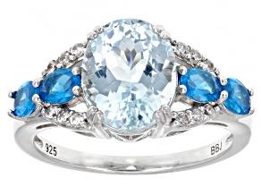 Cabo Delgado Blue Apatite, Neon Blue Apatite, Zircon Rhodium Over Silver Ring 3.07ctw