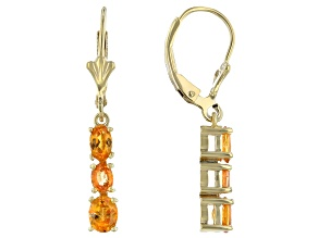 Mandarin Garnet 18K Yellow Gold Over Silver Graduated Earrings 1.66ctw