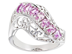 Pink Ceylon Sapphire Rhodium Over Sterling Silver Ring 1.18ctw