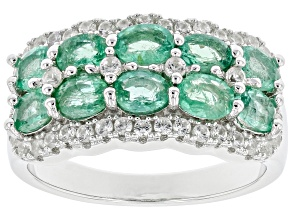 Green Colombian Emerald Rhodium Over Silver Ring 1.84ctw