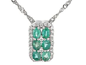 "Green Colombian Emerald Rhodium Over Silver Pendant with 18"" Chain 1.21ctw"