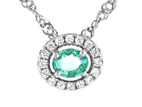 "Green Colombian Emerald Rhodium Over Silver Slide Pendant with 18"" Singapore Chain 0.47ctw"