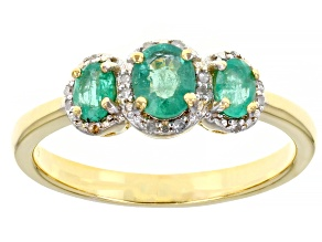 Green Colombian Emerald 18k Yellow Gold Over Sterling Silver Ring 0.57ctw