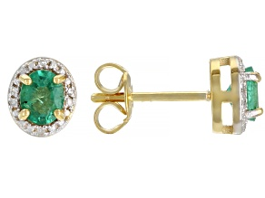 Green Colombian Emerald 18k Yellow Gold Over Sterling Silver Halo Stud Earrings