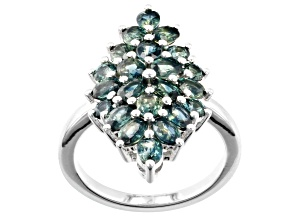 Ocean Sapphire™ Rhodium Over Sterling Silver Ring 3.89ctw