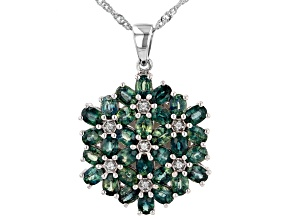 Ocean Sapphire™ Rhodium Over Sterling Silver Pendant With Chain 6.27ctw
