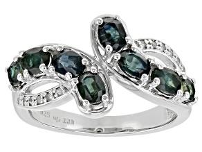 Ocean Sapphire Rhodium Over Silver Ring 1.88ctw
