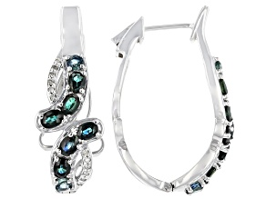 Ocean Sapphire &  White Diamond Rhodium Over Silver Earrings 3.13ctw