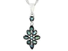 "Ocean Sapphire(TM) Rhodium Over Silver Pendant With 18"" Chain 1.92ctw"