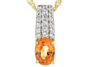 "Orange Mandarin Garnet & White Zircon 18K Yellow Gold Over Silver Pendant With 18"" Chain 1.24ctw"