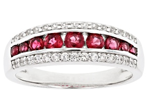 Red Spinel & White Zircon Rhodium over Silver Ring 0.83ctw