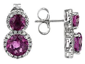 Grape-Color Fluorite & White Zircon Rhodium Over Sterling Silver Earrings 6.19ctw