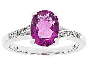 Grape-Color Fluorite & Diamond Rhodium Over Silver Ring