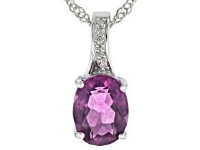 """Grape-Color Fluorite & Diamond Rhodium Over Silver Pendant W/18"""" Chain 2.02ctw"""