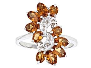 Orange Mandarin Garnet Sterling Silver Ring 2.52ctw