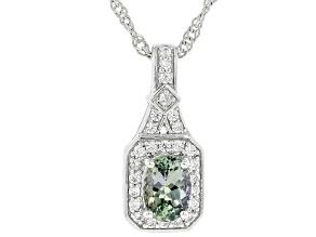 "Ocean Tanzanite & White Zircon Rhodium Over Silver Pendant With 18"" Chain 0.95ctw"
