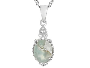 Aquaprase™ With White Diamond Accent Rhodium Over Silver Pendant With Chain 0.01ct